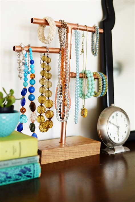 how to make jewelry stand diy copper pipe jewelry stand