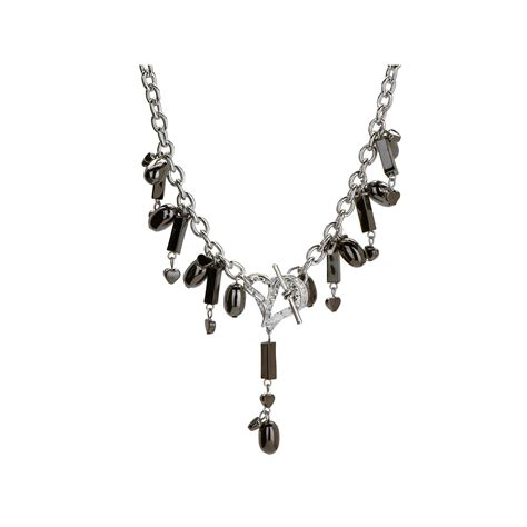 cheap bead necklaces wholesale michele caruso black metallic bead and