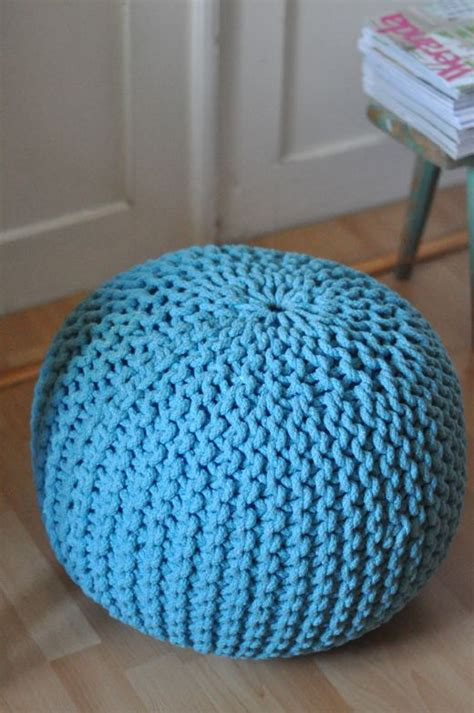 turquoise knitted pouf turquoise knitted floor cushion pouf