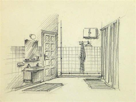 bathroom drawing pencil drawing bathroom interior circa 1950