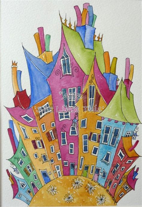 colorfu houses painting 1718 best aquarelle images on
