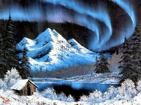bob ross paintings winter northern lights bob ross charming winter