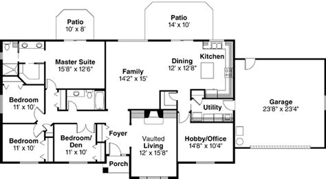 4 bedroom ranch floor plans ranch style house plans 2086 square foot home 1 story 4 bedroom and 2 bath 2 garage stalls