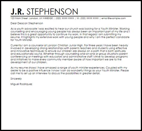 youth minister cover letter sample livecareer