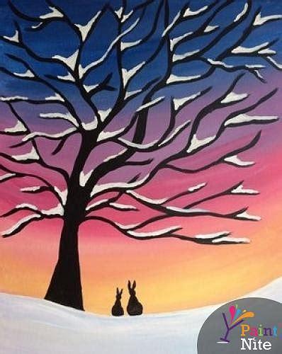 paint nite tree paint nite winter snow tree