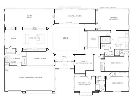 1 5 story house floor plans for single bedroom ideas single story 5 bedroom