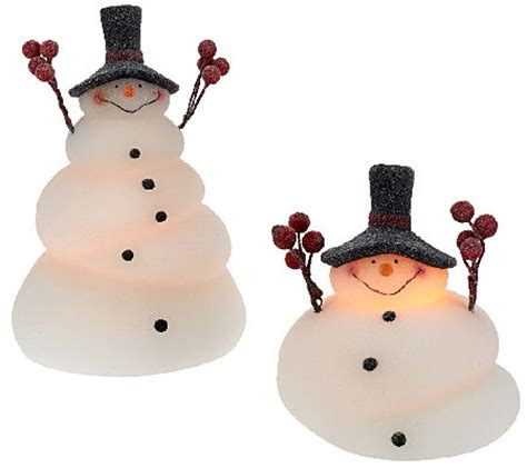 illuminated snowman set of 2 illuminated melted snowmen by candle impressions