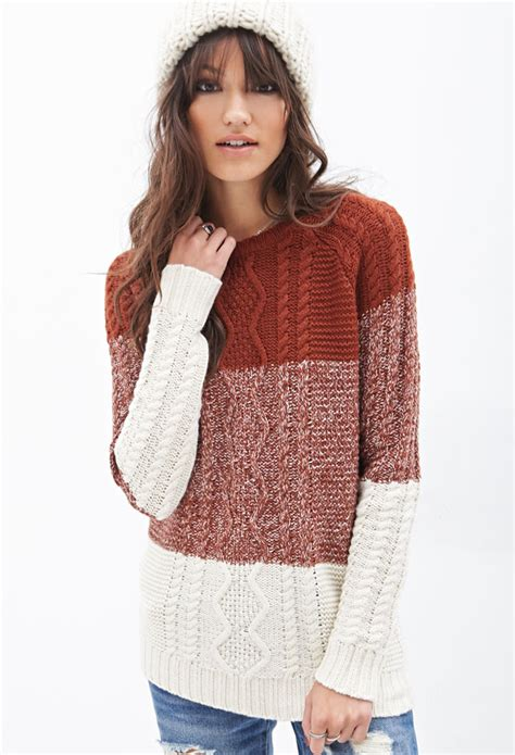 knitted sweaters forever 21 forever 21 colorblocked cable knit sweater in brown lyst