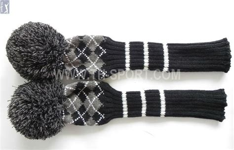 knitted headcovers for golf clubs patterns grid pattern wool knitted golf club cover buy