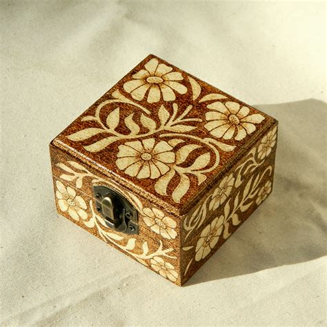 arts and crafts box for beautiful wooden floral nouveau pyrography box by