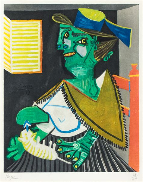 picasso painting yard sale pablo picasso green with cat femme verte au chat