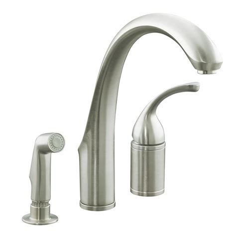 nickel faucets kitchen kohler forte single handle standard kitchen faucet with side sprayer in brushed nickel k r10434