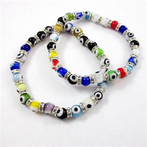 evil eye glass bead bracelet 2 evil eye glass bracelet 6mm stretch hamsa judaica