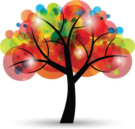 colorful tree creative colorful tree design elements vector free vector