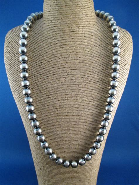 silver beaded necklace oxidized sterling silver bead necklace american