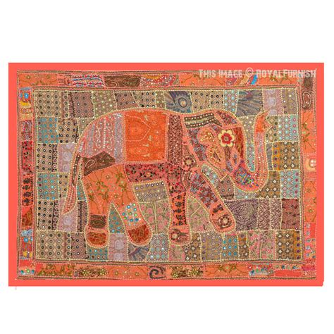 beaded tapestry indian wall hanging indian heavy bead works antique elephant patchwork