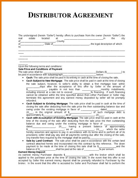 6 distribution agreement template itinerary template sample