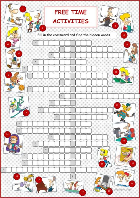 and activities free time activities crossword worksheet free esl