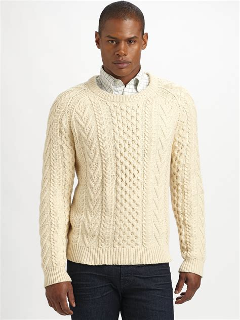 cable knit sweater mens gant rugger classic cable knit sweater in beige for
