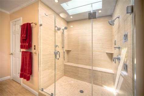 Walk In Shower Designs For Small Bathrooms contemporary bathroom with double shower in reston