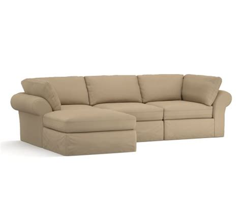 slip covered sectional sofas pb air slipcovered 4 sofa with chaise sectional