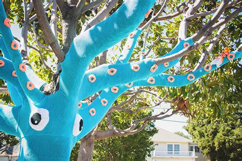 yarn trees a yarn bombed tree squid colossal