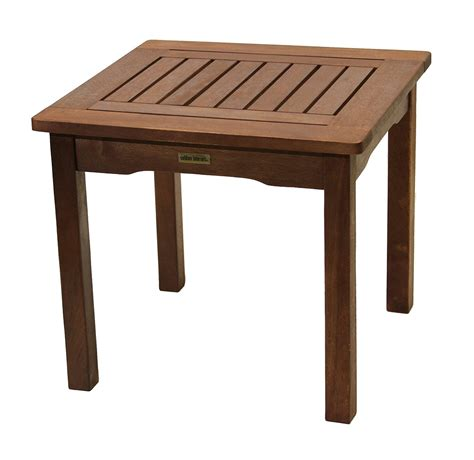 small patio table all weather end table eucalyptus easy assembly garden