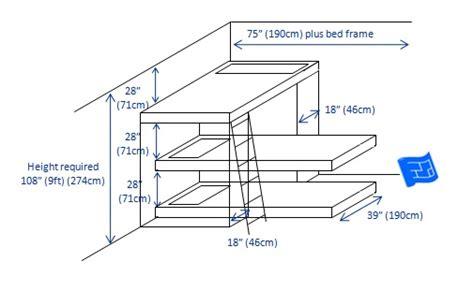 height of bunk bed built in bunk beds