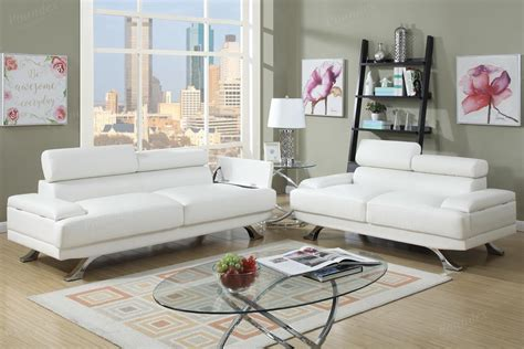 leather sofa and loveseat sets poundex boyn f7370 white leather sofa and loveseat set