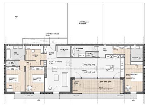 Maison D Architecte Contemporaine Plain Pied 2966 by Plan Maison Architecte Plein Pied Ventana