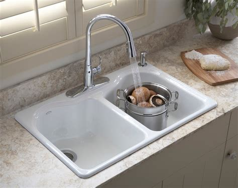 what are kitchen sinks made of kohler k 5818 4 0 hartland self kitchen sink with