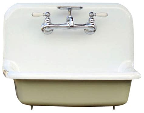 Shop Houzz   re Antique Style High Back Farm Sink Cast Iron Porcelain Wall Mount Sink, Gray, 24
