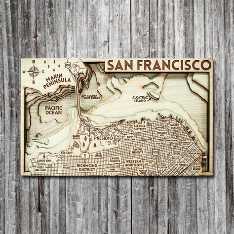 woodworking san francisco san francisco with alcatraz ca 3d wood map on tahoe time