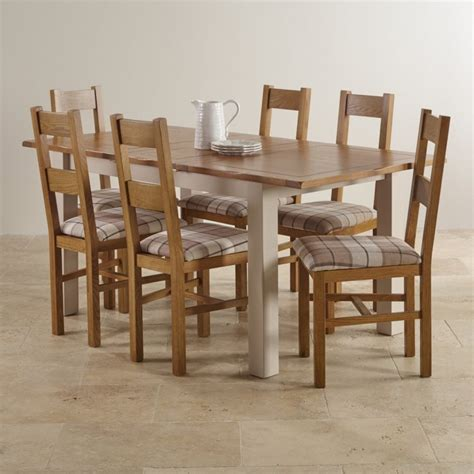 oak dining room table and 6 chairs kemble extending dining set in painted oak table 6 chairs