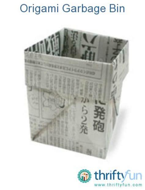 origami garbage bin origami garbage bin thriftyfun