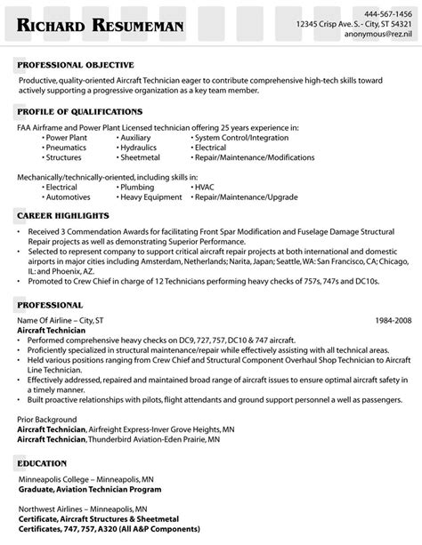 example of an aircraft technician s resume