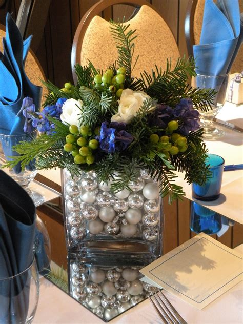blue and silver centerpieces blue silver greens a december wedding jen