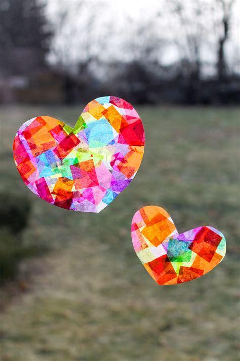 tissue paper suncatcher craft rainbow suncatchers