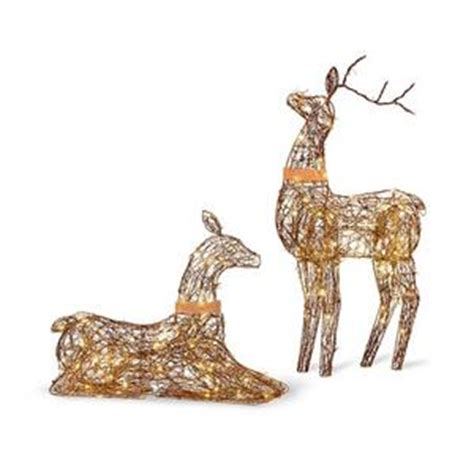 lighted grapevine deer set of 2 lighted rustic grapevine deer doe buck outdoor