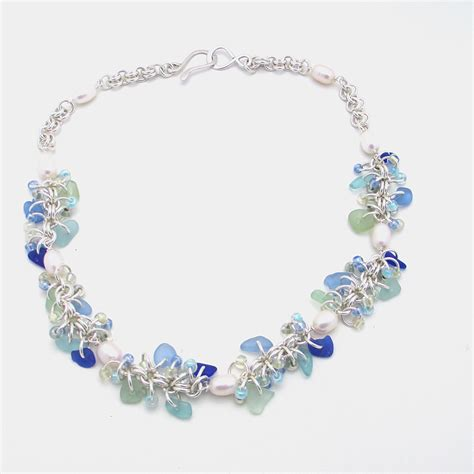 sea glass for jewelry cornflower blue sea glass necklace with pearls sea