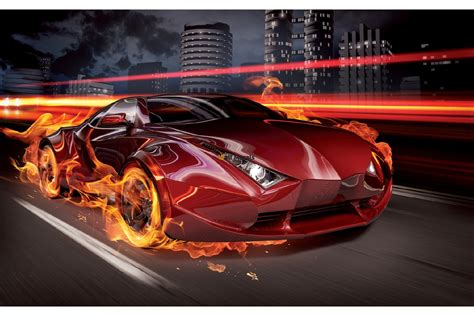 Car Wallpaper Murals by Wallpapers Mural Sports Car In Flames