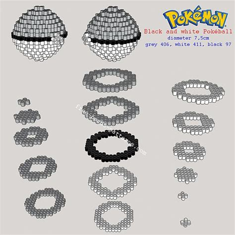 pokeball perler bead pattern black and white pokeball 3d perler pattern