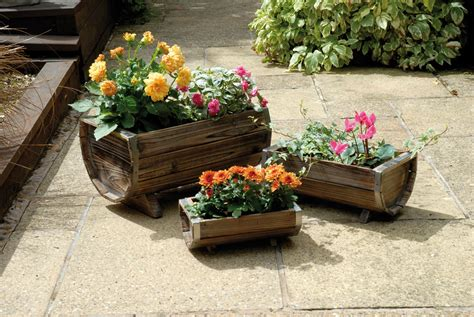 outdoor wooden planters weatherproof 3 trough wooden garden planters set of 3