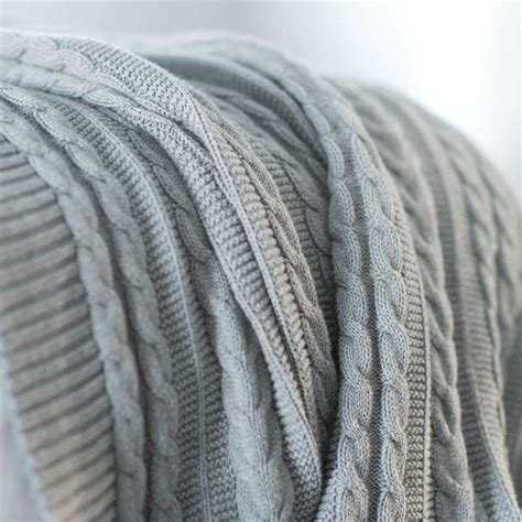 Cable Knit Throw Grey Organic Blanket Boll Branch