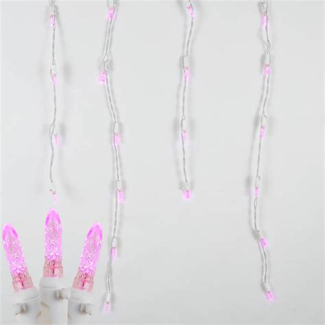 pink led lights white wire pink led icicle lights on white wire novelty lights inc