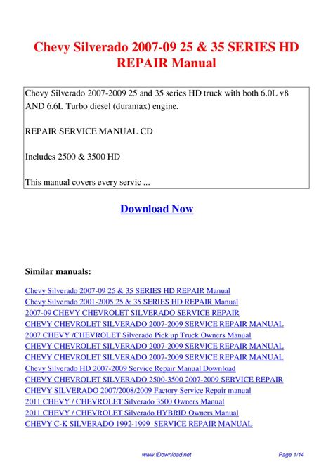chevrolet chevy silverado service manual repair manual fsm online download 1999 2000 2001 2002 chevy silverado 2007 09 25 35 series hd repair manual by giler kong issuu