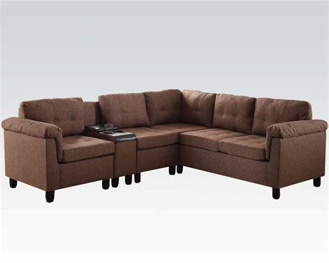 acme sectional sofa acme furniture brown sectional sofa cleavon ac51530