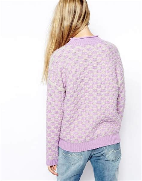 chunky knit sweater pattern asos chunky knit sweater in pattern in purple lilac lyst