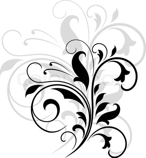 elegant black and white swirling floral pattern with