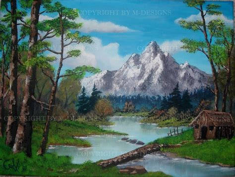 bob ross painting cabin cabin in the woods tribute to bob ross by celki on